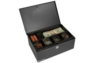 Barska 12in. Cash Box, 6 Compartment Coin Tray, Open and Full CB11792