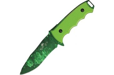 Bear Ops Undead, Constant II, Carbon Steel modified clip Blade, Fingergrooved neon green G-10 Handle BC37006