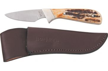 Bear & Son Invincible Skinner Fixed Blade Knife, High Carbon SS Drop Point Blade, India Stag Bone Handle BC582