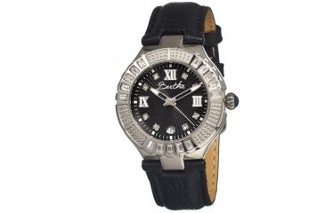 Bertha Evelyn Ladies Watch, Black Leather Band, Crystals Bezel, Black Analog Dial, Silver Hand BTHBR1702