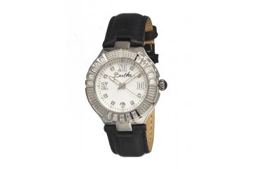 Bertha Evelyn Ladies Watch, Black Leather Band, Crystals Bezel, Silver Analog Dial, Silver Hand BTHBR1701