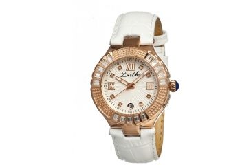 Bertha Evelyn Ladies Watch, White Leather Band, Crystals Bezel, Silver Analog Dial, Rose Gold Hand BTHBR1703