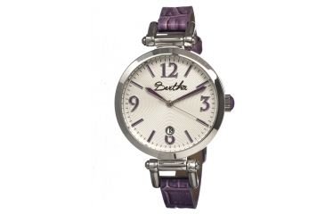 Bertha Lilah Ladies Watch, Purple Leather Band, Silver Bezel, Silver Analog Dial, Purple Hand BTHBR1004
