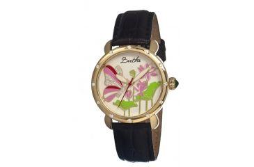 Bertha Stella Ladies Watch, Black Leather Band, Gold Bezel, Multicolor Analog Dial, Gold Hand BTHBR1605
