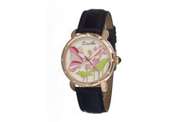 Bertha Stella Ladies Watch, Black Leather Band, Rose Gold Bezel, Multicolor Analog Dial, Rose Gold Hand BTHBR1606