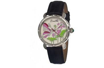 Bertha Stella Ladies Watch, Black Leather Band, Silver Bezel, Multicolor Analog Dial, Silver Hand BTHBR1604