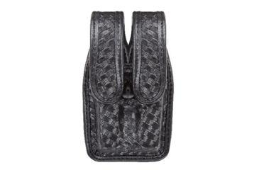 Bianchi 7944 Slimline Double Mag Pouch, Basketweave Black w/ Brass Snap, Glock 17/19 & Similar
