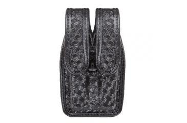 Bianchi 7944 Slimline Double Mag Pouch, Basketweave Black w/ Brass Snap, Glock 20/21 & Similar