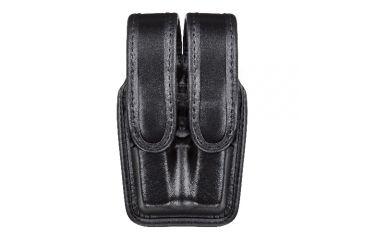 Bianchi 7944 Slimline Double Mag Pouch, Hi Gloss Black w/ Chrome Snap, Glock 17/19 & Similar