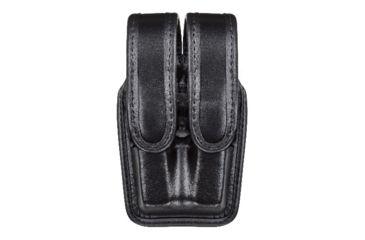 Bianchi 7944 Slimline Double Mag Pouch, Hi Gloss Black w/ Chrome Snap, Glock 20/21 & Similar