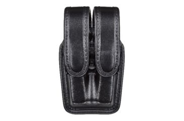 Bianchi 7944 Slimline Double Mag Pouch, Plain Black w/ Brass Snap, Glock 20/21 & Similar
