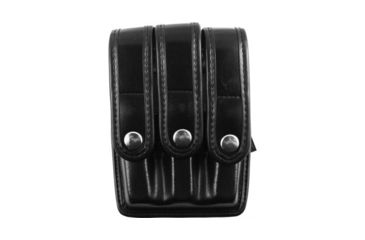 Bianchi 7945 Slimline Triple Magazine Pouch, Plain Black, Chrome Snap - Beretta 92/96, Glock 17/19 & Similar