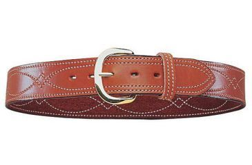 Bianchi B9 Fancy Stitched Belt - Plain Tan/Suede, Brass 12295