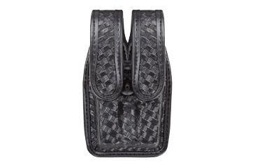 Bianchi 7944 Slimline Double Mag Pouch, Basketweave Black w/ Hidden Snap