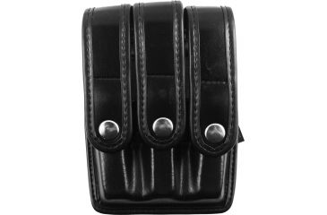 Bianchi Slimline Triple Magazine Pouch, Plain Black, Chrome Snap 25160