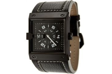 Black Dice Grind Men's Watch - Black Display, Black Leather Strap, SS Case BLABD-047-03