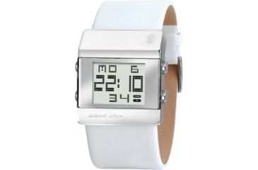 Black Dice Heist Men's Watch - White Case, White Leather Strap BLABD-022-04