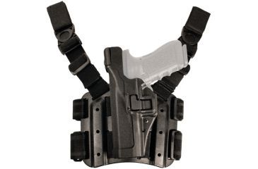 Blackhawk SERPA Tactical Level 3 Thigh Holster, Black, Left Hand - SigPro 2022 - 430608BK-L