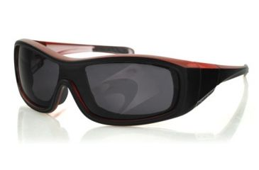 Bobster ZOE Sunglasses - Black/Red Frame, Anti-Fog Smoked Lens BZOE301