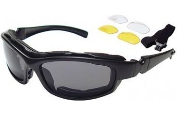 Bobster Road Hog Action Eyewear Convertible Goggles / Sunglasses w/ 3 Lens Set, Black Frame BRH001AC