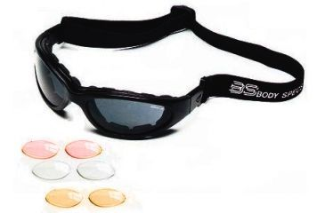 Body Specs BSG Goggles, Black Frame, Crimson Red, Clear, Light Rust Lens BSG-Black-Red-Mirror