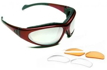 Body Specs BSG-2 Goggles Crystal Red Frame, Clear,  Rust Extra Lens Sets