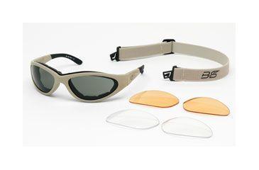 Body Specs Sunglass & Goggle, Desert Tan Frame, Grey, Clear, Light Rust Lens BSG-DESERT-SAND13