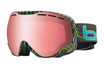 Bolle Emperor Ski/Snowboard Goggles - Blue and Green Waves Frame and Vermillon Gun Lens 20935