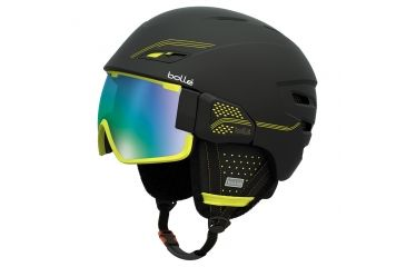 Bolle Osmoz Helmet, Black and Green with Green Emerald Lens, 54-58cm 30636