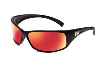 Bolle Recoil Sunglasses, Shiny Black Frame, Polarized TNS Fire Lens 11454
