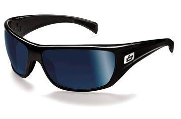 Bolle Cobra Sunglasses 11324, Shiny Black Frame, Polar Off Shore Blue Lens