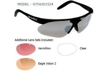 Bolle Parole Golf Sunglass, Matte Black Frame/TNS Gun, Vermillon, EagleVision 2, Clear Lens Set
