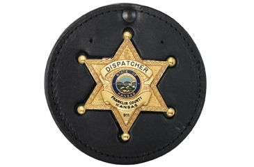 Boston Leather Recessed Circle Badgeclip With V - 600-4039