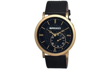 Breed Maxwell Mens Watch, Black Leather Band, Gold Bezel, Black Analog Dial, Gold Hand BRD4104