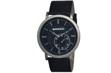 Breed Maxwell Mens Watch, Black Leather Band, Grey Bezel, Black Analog Dial, Silver Hand BRD4102