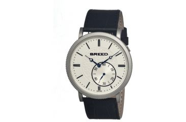Breed Maxwell Mens Watch, Black Leather Band, Grey Bezel, Silver Analog Dial, Blue Hand BRD4101