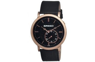 Breed Maxwell Mens Watch, Black Leather Band, Rose Gold Bezel, Black Analog Dial, Rose Gold Hand BRD4106