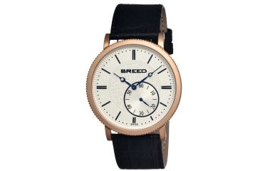 Breed Maxwell Mens Watch, Black Leather Band, Rose Gold Bezel, Silver Analog Dial, Blue Hand BRD4105