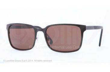 Brooks Brothers BB4022 Sunglasses 163983-57 - Satin Black Frame, Brown Solid Polarized Lenses