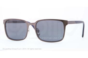 Brooks Brothers BB4022 Sunglasses 164487-57 - Satin Gunmetal Frame, Grey Blue Solid Lenses