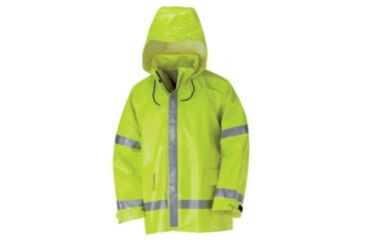 Bulwark Hi-Visibility Flame-Resistant Rain Jacket, YELLOW/GREEN, RGL JXN2YERGL