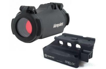 Aimpoint Micro H-2 Red Dot Reflex Sight, 2 MOA Dot Reticle, w/ Picatinny Mount, Black, Semi Matte, Anodized, 200185