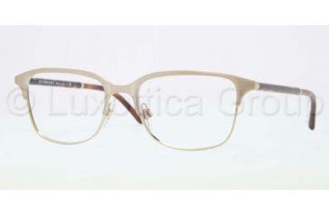 Burberry BE1250 Single Vision Prescription Eyeglasses 1167-5418 - Brushed Burberry Gold Frame, Demo Lens Lenses
