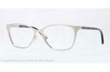 Burberry BE1255 Bifocal Prescription Eyeglasses 1166-53 - Brushed Silver Frame, Demo Lens Lenses