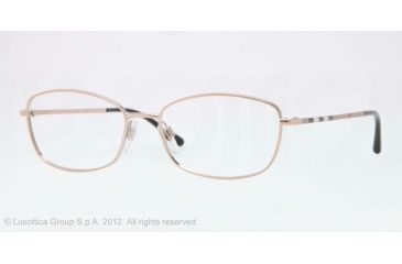 Burberry BE1256 Single Vision Prescription Eyeglasses 1188-51 - Pink Gold Frame, Demo Lens Lenses