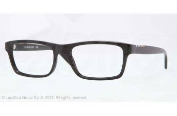Burberry BE2138 Single Vision Prescription Eyeglasses 3396-53 - Top Transp/black Frame, Demo Lens Lenses