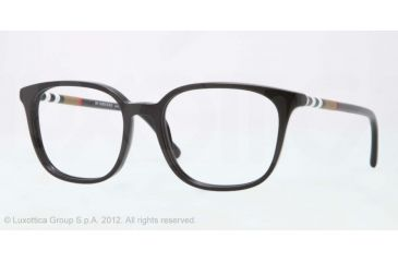 Burberry BE2140 Progressive Prescription Eyeglasses 3001-52 - Black Frame, Demo Lens Lenses