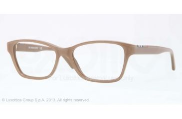Burberry BE2144 Single Vision Prescription Eyeglasses 3423-51 - Top Transp/Brown Frame