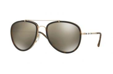 dca6162a5c95 Burberry BE3090Q Sunglasses 10525A-58 - Brushed Gold mt Dark Havana Frame