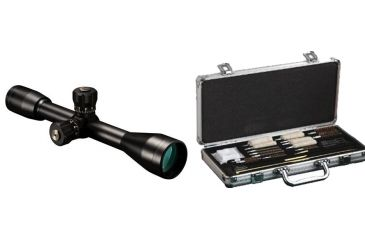 Bushnell Elite 10x40 MilDot Target Turrets Argon Fixed Power Riflescope, Matte Black ET1040 and Hoppes Deluxe Gun Cleaning Accessory Kit